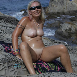 On The Sea To Calafuria - Big Tits, Blonde Hair, Nude Outdoors, Shaved, Beach Voyeur, Naked Girl, Amateur