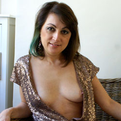 Anna - Sexy Dress - Big Tits, Brunette Hair, Hairy Bush, No Panties, Amateur