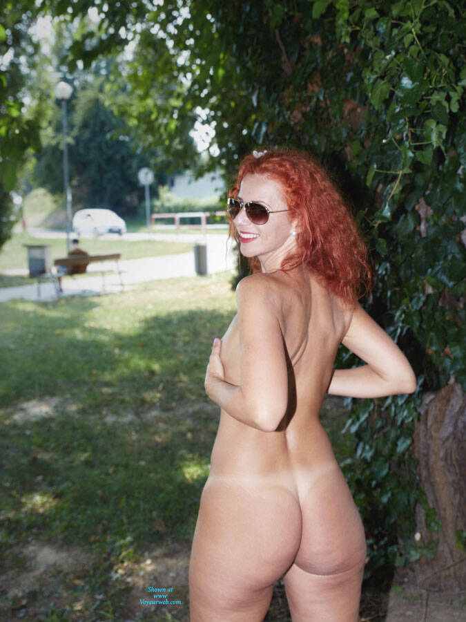 Pic #5 Lena - Fun In The City Park - Nude Girls, Big Tits, Public Exhibitionist, Flashing, High Heels Amateurs, Outdoors, Public Place, Shaved, Firm Ass, Redhead