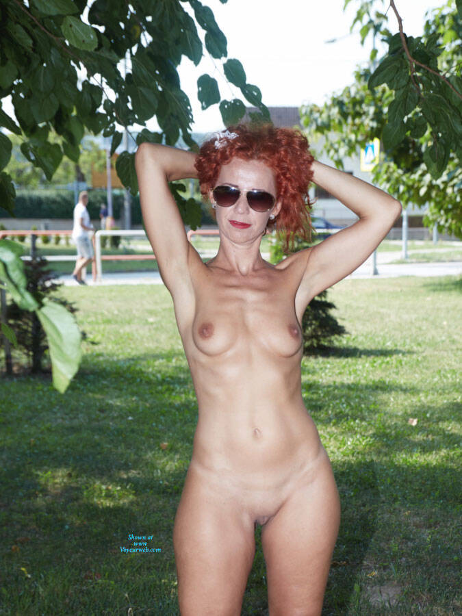 Pic #1 Lena - Fun In The City Park - Nude Girls, Big Tits, Public Exhibitionist, Flashing, High Heels Amateurs, Outdoors, Public Place, Shaved, Firm Ass, Redhead
