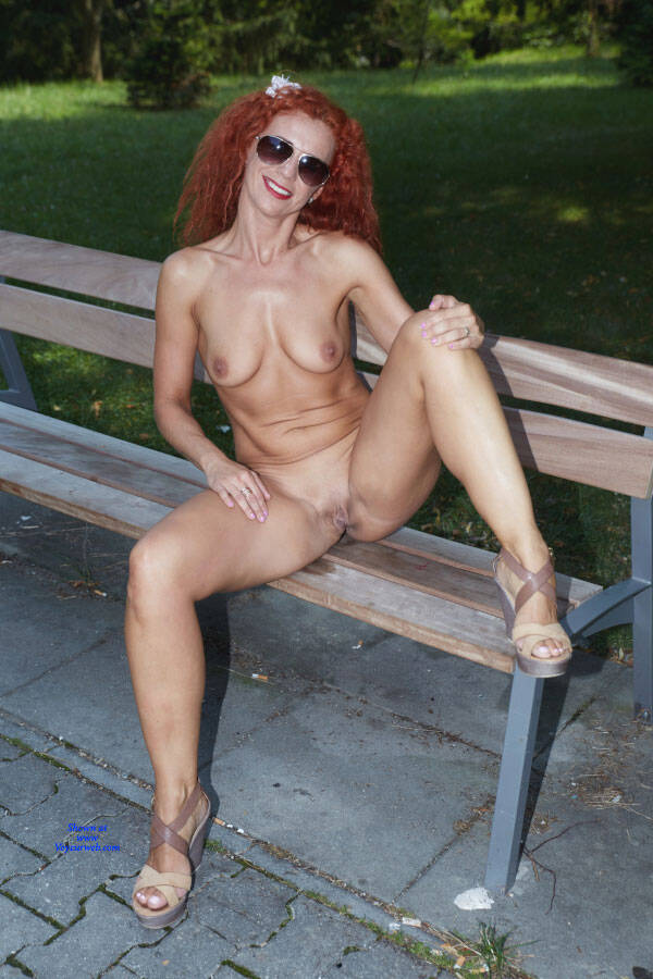 Pic #2 Lena - Fun In The City Park - Nude Girls, Big Tits, Public Exhibitionist, Flashing, High Heels Amateurs, Outdoors, Public Place, Shaved, Firm Ass, Redhead