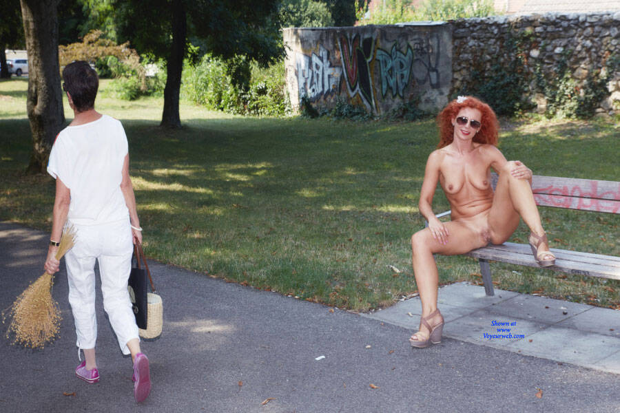 Pic #6 Lena - Fun In The City Park - Nude Girls, Big Tits, Public Exhibitionist, Flashing, High Heels Amateurs, Outdoors, Public Place, Shaved, Firm Ass, Redhead
