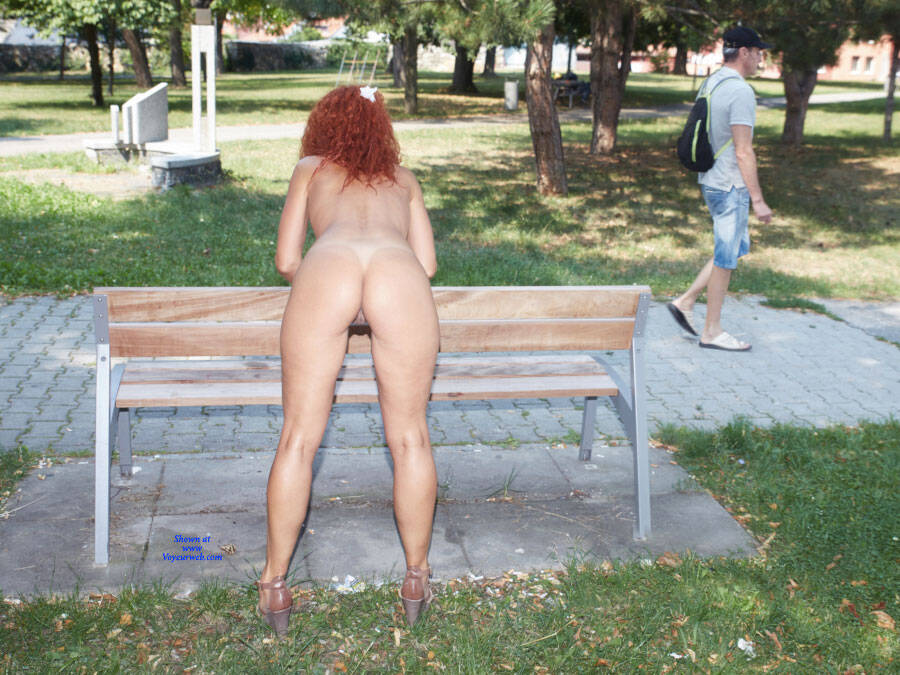 Pic #7 Lena - Fun In The City Park - Nude Girls, Big Tits, Public Exhibitionist, Flashing, High Heels Amateurs, Outdoors, Public Place, Shaved, Firm Ass, Redhead