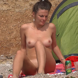 Perfect Tits - Big Tits, Brunette Hair, Nude Outdoors, Shaved, Beach Voyeur, Naked Girl