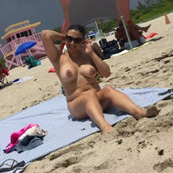 Haulover Candids - Big Tits, Brunette Hair, Nude Outdoors, Beach Voyeur, Naked Girl