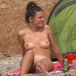 Two Careless Beauties - Brunette Hair, Nude Outdoors, Perfect Tits, Shaved, Beach Voyeur, Naked Girl