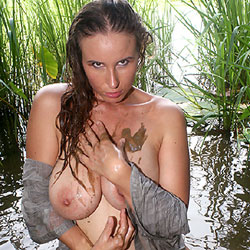 Muddy Water - Nude Amateurs, Big Tits, Brunette, Outdoors, Nature
