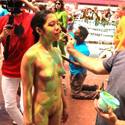 Body Painting Times Square Part 1 - Brunette Hair, Hairy Bush, Navel Piercing, Nude In Public, Nude Outdoors, Naked Girl