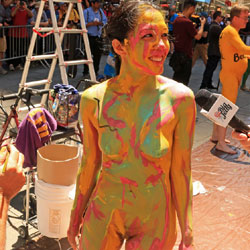 Body Painting Times Square Part 2 - Nude Girls, Brunette, Public Exhibitionist, Outdoors, Public Place