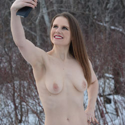 Can You Pee A Hole In The Snow? - Brunette Hair, Nude Outdoors, Shaved, Naked Girl, Sexy Lingerie, Amateur