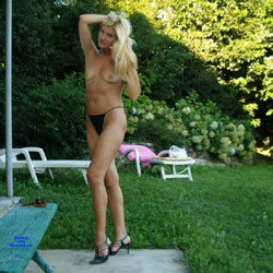 My Black Dress And My G-string - Blonde, High Heels Amateurs, Outdoors, Amateur