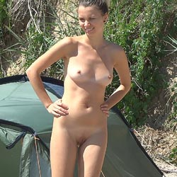 Early Summer Beauty - Brunette Hair, Nude Outdoors, Perfect Tits, Shaved, Beach Voyeur, Naked Girl