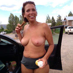 Caught Dressing In A Parking Lot - Big Tits, Brunette Hair, Exposed In Public, Flashing, Nude In Public, Nude Outdoors, Topless Wife, Amateur