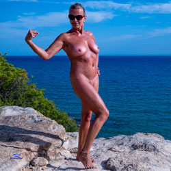 Tanned Milf Exhibitionist - Big Tits, Nude Outdoors, Shaved, Beach Voyeur, Naked Girl, Amateur