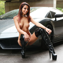 Sexy Sierra Posing With A Lambo - Exposed In Public, Flashing, Heels, Nude Outdoors, Perfect Tits, Redhead, Amateur