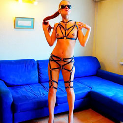 A Girl In A Harness! - Nude Amateurs, Brunette, High Heels Amateurs, Small Tits
