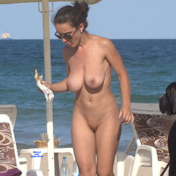Girl With The Big Dog - Big Tits, Brunette Hair, Nude Outdoors, Shaved, Beach Voyeur, Naked Girl