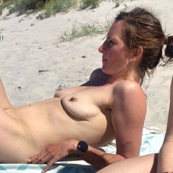 Beach Time - Nude Girls, Beach, Brunette, Outdoors, Amateur, Medium Tits, Bush Or Hairy