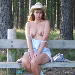 Sitting On The Fence - Blonde Hair, Nude Outdoors, Perfect Tits, Naked Girl, Amateur