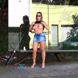 Flash In Bus Stop - Big Tits, Public Exhibitionist, Flashing, High Heels Amateurs, Outdoors, Amateur