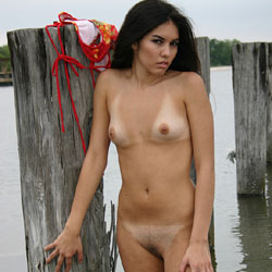 Ponchatrain Poles - Brunette Hair, Hairy Bush, Nude Outdoors, Small Tits, Naked Girl, Amateur