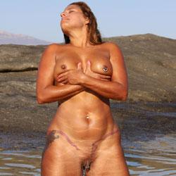 Salty Pool Play - Big Tits, Brunette Hair, Navel Piercing, Nude Outdoors, Shaved, Beach Voyeur, Naked Girl, Amateur