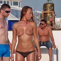 Life Is A Beach - Big Tits, Brunette Hair, Nude Outdoors, Topless Girl, Beach Voyeur
