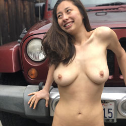 Car Shots For The Win - Big Tits, Brunette Hair, Hairy Bush, Nude Outdoors, Naked Girl, Amateur