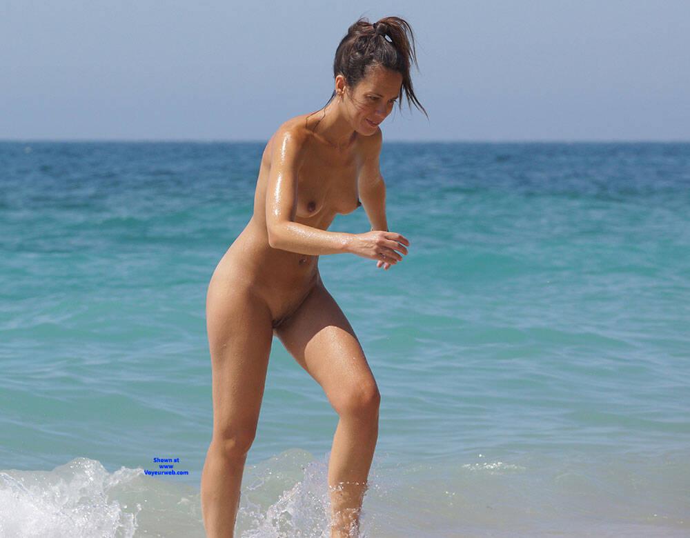 Pic #8 More Beach Tennis - Nude Girls, Beach, Brunette, Outdoors, Bush Or Hairy, Amateur, Medium Tits