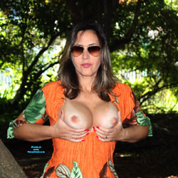 Beautiful Day In The Park - Second Part - Big Tits, Brunette, Public Exhibitionist, Flashing, Outdoors, Shaved, Amateur, Firm Ass