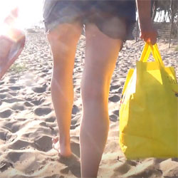 Wife upskirt at public beach