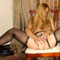 KarissaLegs -- Heels & Black Stockings III - Blonde, Shaved