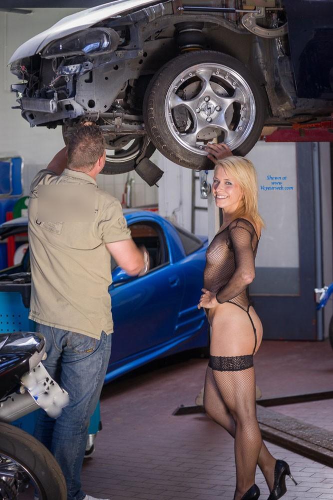 Pic #1 - Car Repair - Blonde Hair, Exposed In Public, Nude In Public, Sexy Lingerie , Caroline In A Car Repair