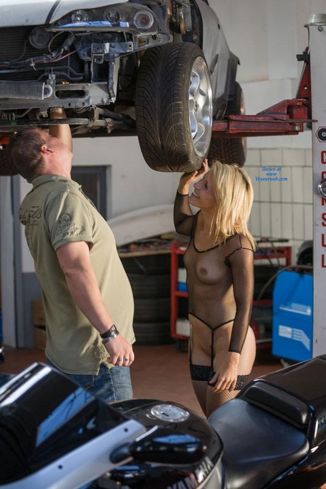 Pic #3 Car Repair - Blonde, Lingerie, Public Exhibitionist, Public Place