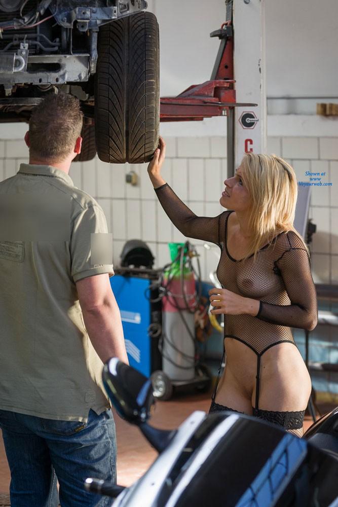 Pic #4 Car Repair - Blonde, Lingerie, Public Exhibitionist, Public Place
