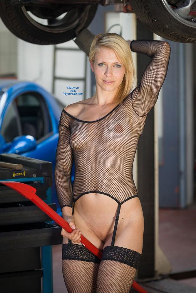 Pic #10 Car Repair - Blonde, Lingerie, Public Exhibitionist, Public Place