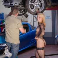 Car Repair - Blonde, Lingerie, Public Exhibitionist, Public Place