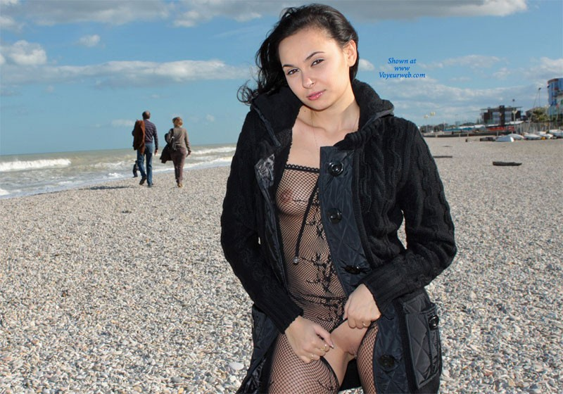 Pic #1 - The Sea in November - Brunette Hair, Beach Voyeur, Sexy Lingerie , The Day Was Cold That Day ...