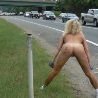 Naked Workout At Roadside - Flashing, Naked Girl, Nude Amateur , Traffic Guard, Traffic Stopper, Naked Woman Facing Rush Hour Traffic, Aerobic Roadside Flashing, Naked Girl On The Road, Nude Girl On A Highway, Naked Exercise On Roadside, Doing Roadside Aerobics, Naked Beside The Road, Tatoos On Ass, Flashing On A Road, Ass To Camera