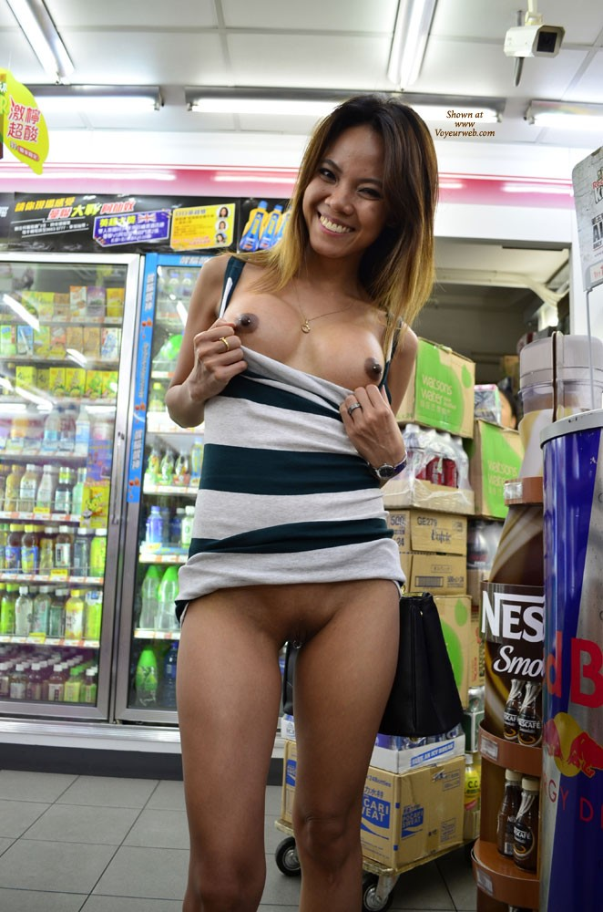 Pic #5 Flashing in 7/11 - Public Exhibitionist, Public Place, Small Tits, Asian