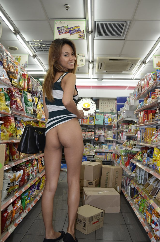 Pic #7 Flashing in 7/11 - Public Exhibitionist, Public Place, Small Tits, Asian