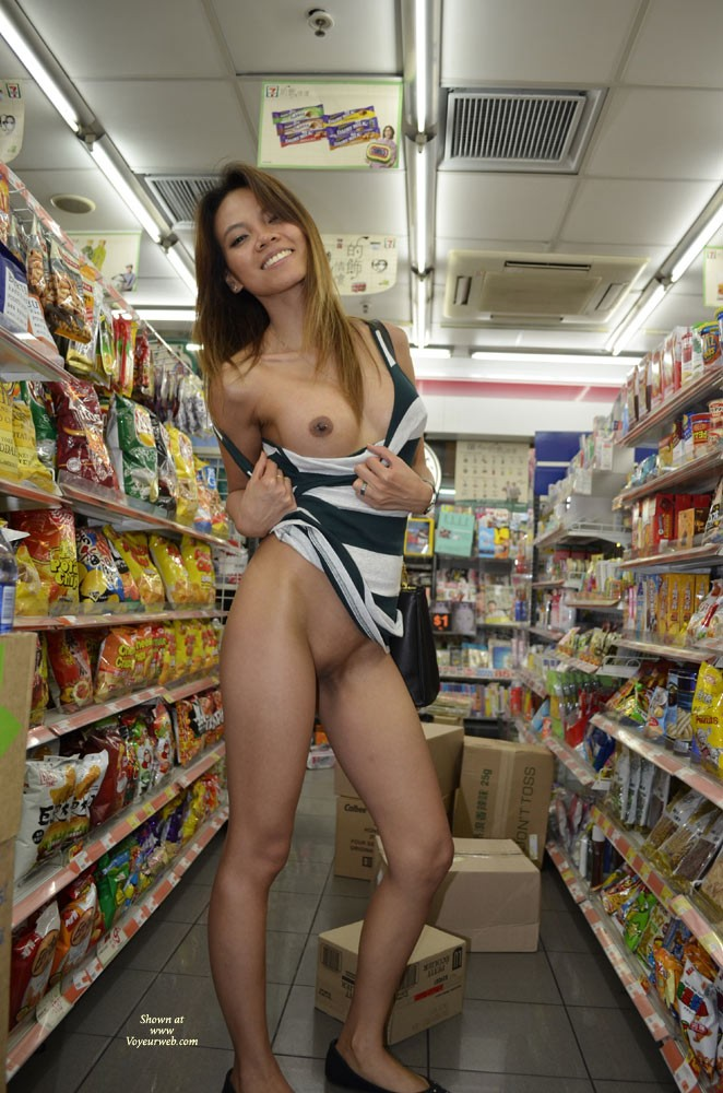 Pic #9 Flashing in 7/11 - Public Exhibitionist, Public Place, Small Tits, Asian