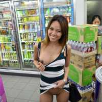 Flashing in 7/11 - Public Exhibitionist, Public Place, Small Tits, Asian