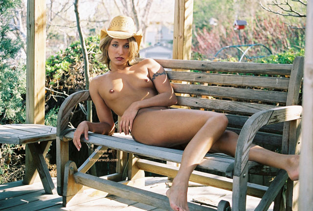 Pic #1 - Nude Reclining On Park Bench - Blonde Hair, Small Tits, Naked Girl, Nude Amateur, Small Areolas , Streched Out Waiting, Laying On A Wooden Bench, Park Bench, Skinny Body, Naked Sundowner, Tatoo In An Arm