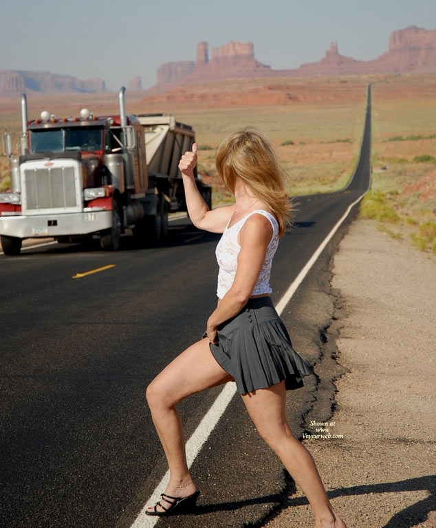 Pic #1 - Hitch Hicking On The Road , Public Flash, Black Strapped Shoes, Charcoal Short Skirt