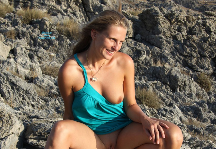 Bri On The Rocks - Blonde Hair, Beach Voyeur , We Found That Beautiful Place On One Of Our Last Holidays. We Enjoyed The Sunset ... Well, Bri Enjoyed The Sun On Her Skin And The View On Sea And I Enjoyed Her ;)