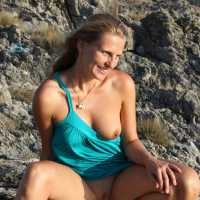 Bri On The Rocks - Blonde Hair, Beach Voyeur