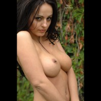 Pierced Nipple And Belly Button - Big Tits, Black Hair, Erect Nipples, Long Hair, Perky Tits, Pierced Nipples, Topless