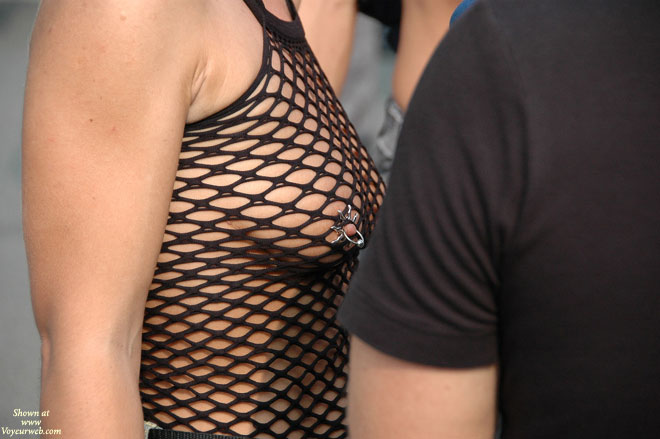 Pic #1 - Nipple Piercing - Exhibitionist , Fishnet Top, Exposed In Public, Nipple Jewelry, Nipple Jewellery, Black String Bodystocking, Pierced Nipple, Street Voyeur, Black Net Shirt, Nipple Piercing In Public, Piercing With A Nipple Shield, Breast Piercing