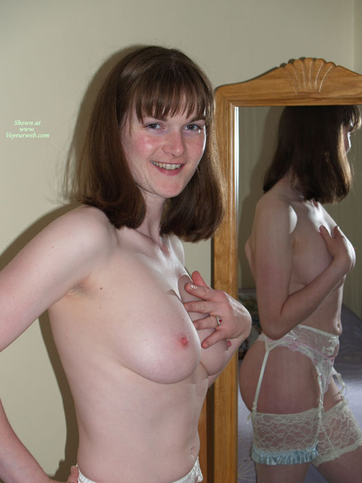 Pic #1 - Mirror View - Brunette Hair, Hard Nipple, Natural Tits, Topless , Smiling Charmingly To Camera, One Hand On Hip, Tiny Areolas, Mirror Shot, One Hand Over Breast, Indoor Tits, In The Mirror, Stockings And Heels, Very White Skin, Smiling Directly At The Camera, Brunette Reflected Topless, Bright Pink Erect Nipples, Garter Lace Stockings Smile